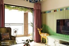混搭风格阳台窗帘装修设计