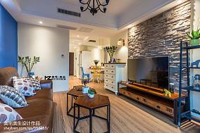 平方二居客厅混搭装修效果图片61-80m²二居潮流混搭家装装修案例效果图