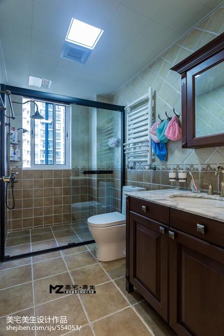 华丽112平美式三居卫生间装潢图餐厅