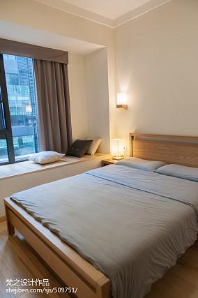 简约中式卧室窗台榻榻米效果图