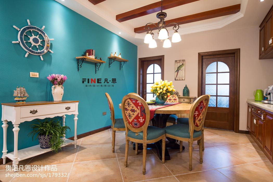 三居室美式餐厅背景墙效果图欣赏厨房吊顶美式经典餐厅设计图片赏析