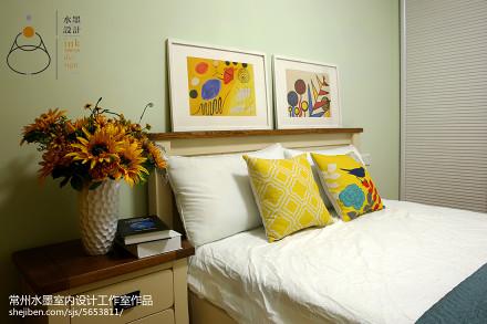 2018面积71平小户型卧室美式装修欣赏图片卧室
