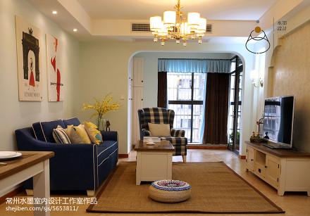 热门85平米美式小户型客厅效果图片欣赏一居美式经典家装装修案例效果图
