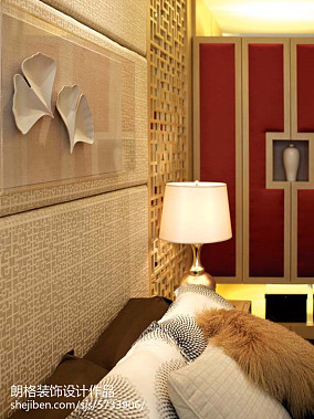 2018精选123平米中式别墅卧室效果图卧室中式现代设计图片赏析