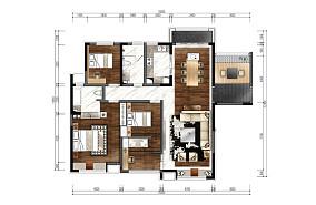 优雅337平中式样板间客厅装修案例样板间中式现代家装装修案例效果图