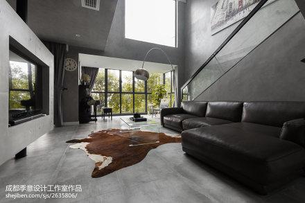 精选面积118平复式客厅现代装修实景图片复式现代简约家装装修案例效果图