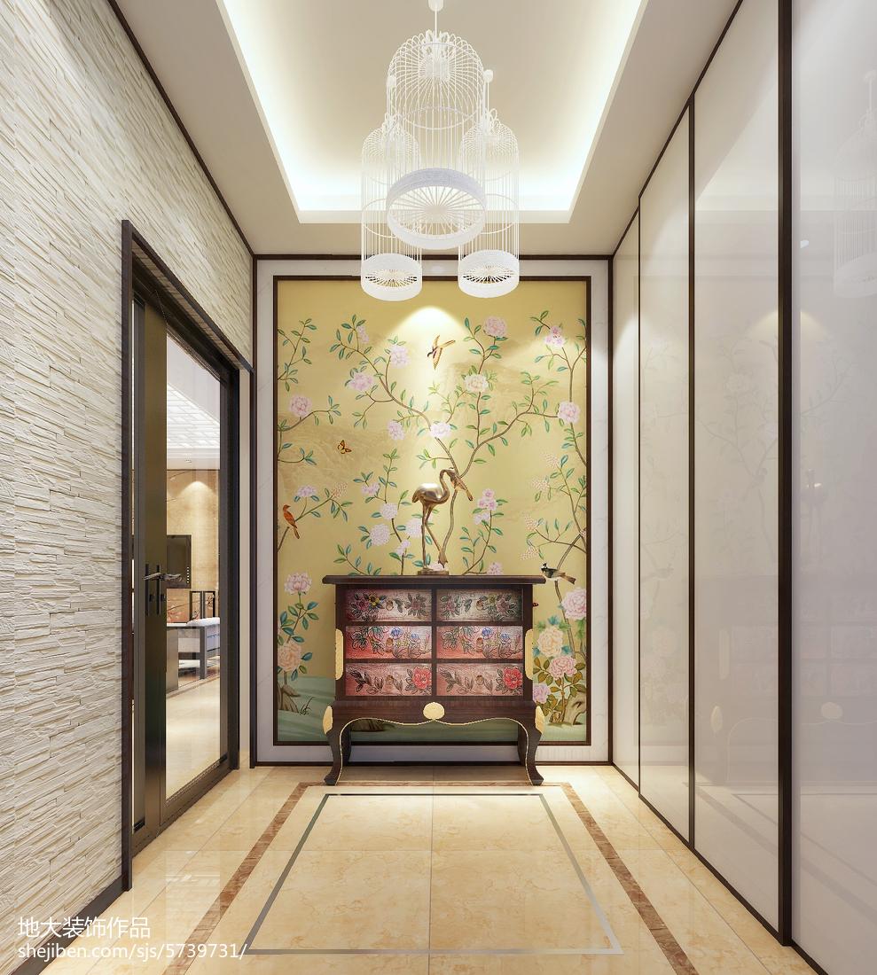 2018面积104平中式三居玄关装修设计效果图片欣赏玄关中式现代玄关设计图片赏析