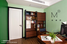 质朴104平中式四居书房效果图欣赏四居及以上中式现代家装装修案例效果图