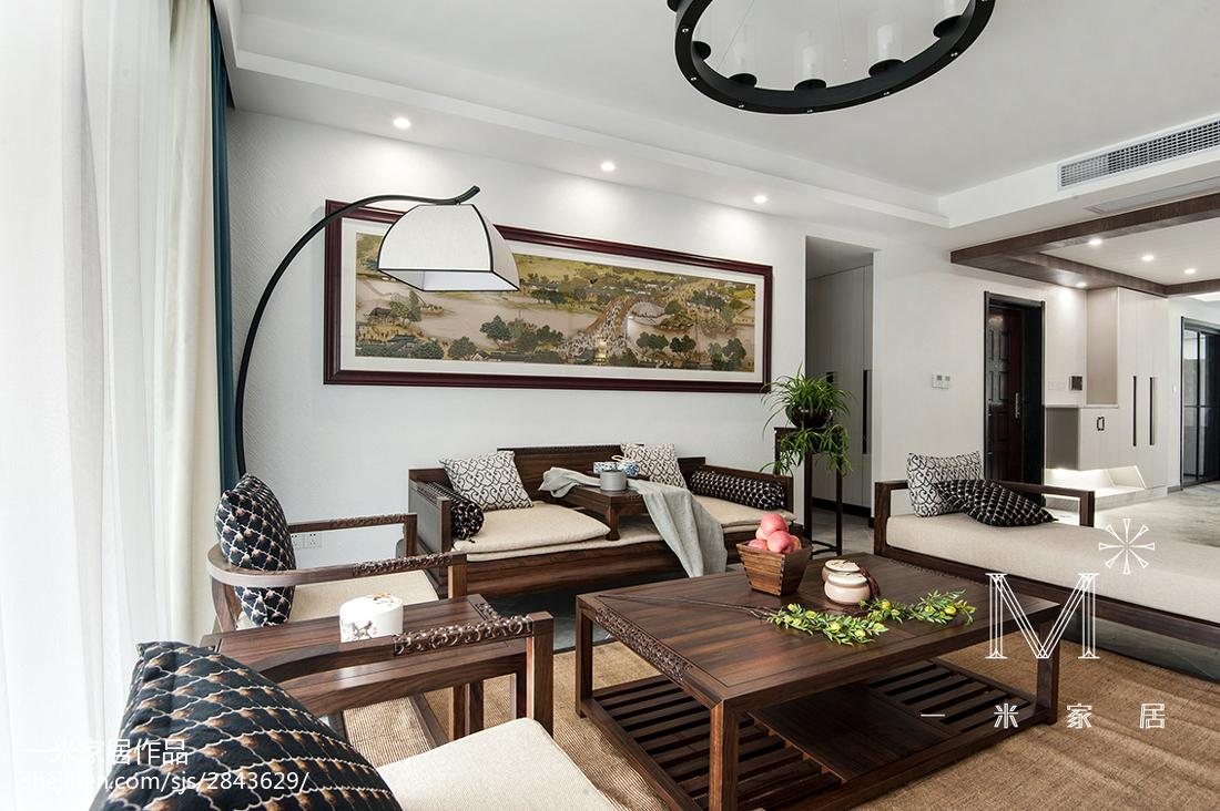 热门四居客厅中式装修效果图片四居及以上中式现代家装装修案例效果图