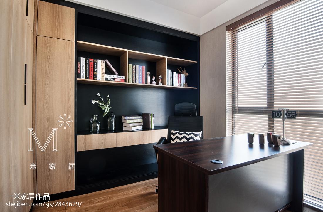 138m²现代简约书房书柜装修设计功能区木地板现代简约功能区设计图片赏析