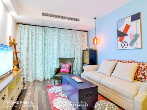 2018面积87平混搭二居客厅装修图片欣赏客厅窗帘