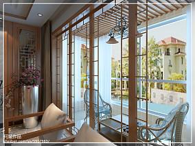 精选94平米三居阳台中式装修设计效果图片大全
