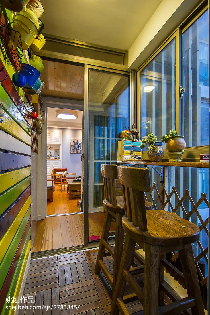 热门面积89平美式二居阳台装修图片阳台美式经典阳台设计图片赏析