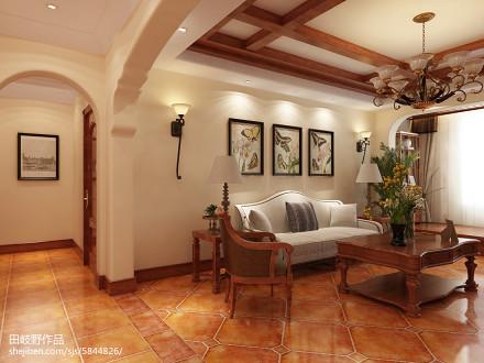 精美面积103平美式三居客厅装饰图片客厅