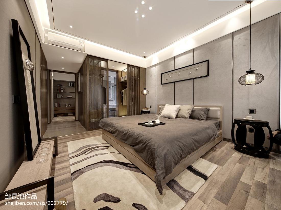 卧室中式装修实景图片欣赏样板间中式现代家装装修案例效果图