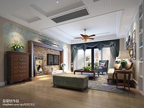 热门大小107平美式三居客厅装修设计效果图片欣赏