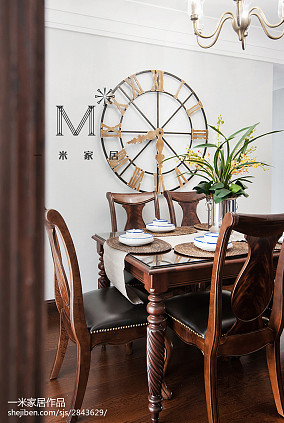 热门面积108平美式三居餐厅装饰图片大全三居美式经典家装装修案例效果图