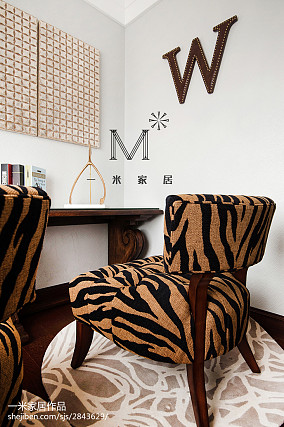精选105平米三居书房美式效果图片三居美式经典家装装修案例效果图