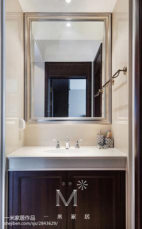 面积107平美式三居卫生间装修实景图三居美式经典家装装修案例效果图