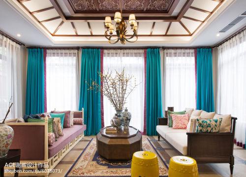 精美别墅客厅东南亚装修设计效果图片大全客厅窗帘201-500m²潮流混搭家装装修案例效果图