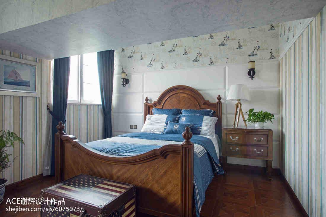 精选面积122平别墅卧室美式装修设计效果图片大全卧室