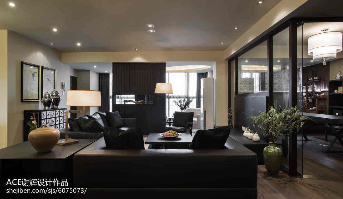精美118平米中式别墅客厅装修图片客厅沙发中式现代客厅设计图片赏析