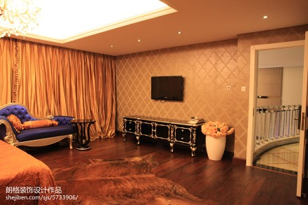 精美129平米欧式别墅卧室装修效果图片大全卧室1图