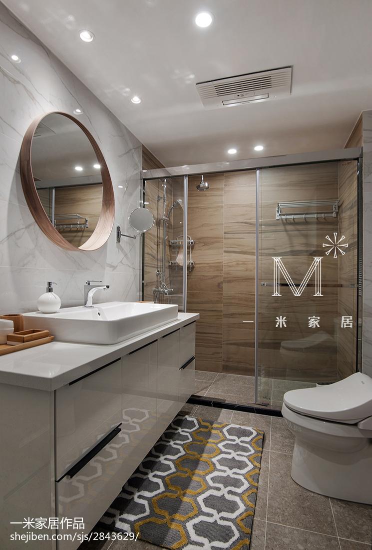 现代北欧卫生间淋浴房设计卫生间现代简约卫生间设计图片赏析