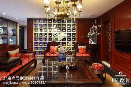 混搭风格别墅客厅博古架设计