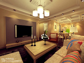 精选面积73平小户型客厅美式实景图