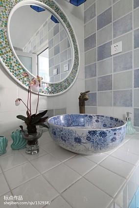 华丽48平地中海复式卫生间装饰图复式地中海家装装修案例效果图