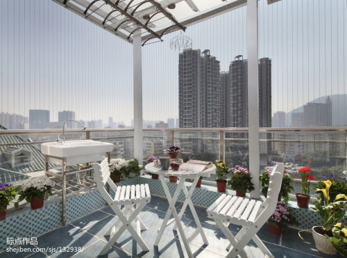 大气73平地中海复式阳台装修效果图阳台