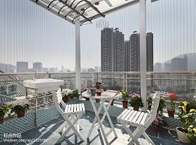 大气73平地中海复式阳台装修效果图复式地中海家装装修案例效果图