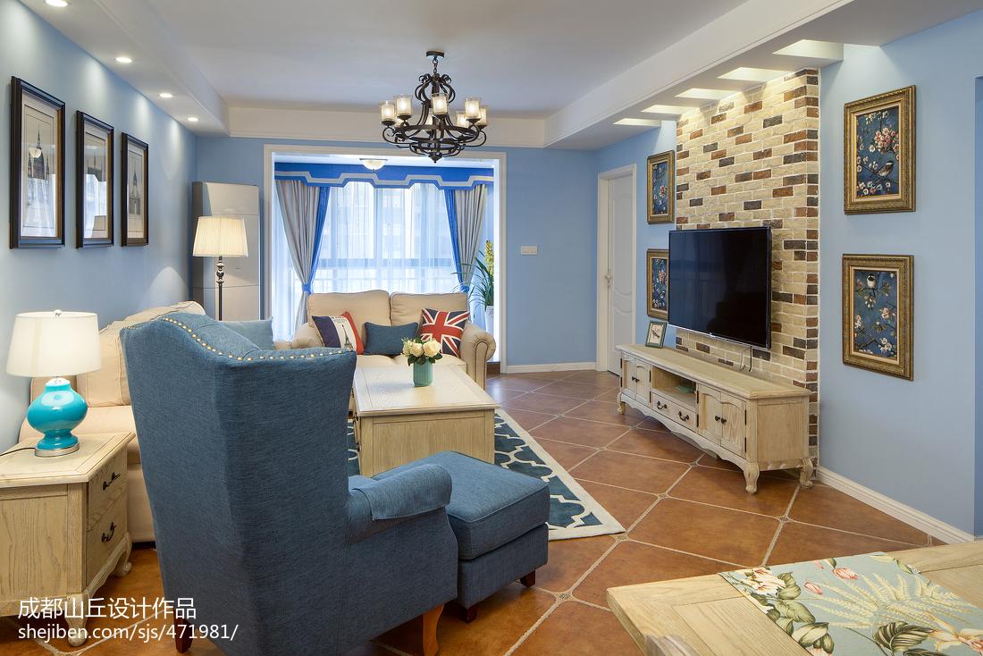 美式风格三居蓝色调客厅装修效果图客厅美式经典客厅设计图片赏析