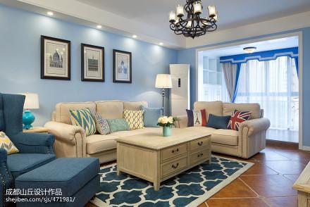热门90平米三居客厅美式欣赏图片大全客厅