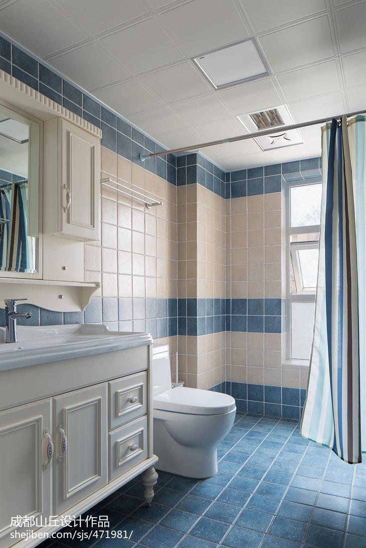 美式风格卫生间蓝色瓷砖装修图片卫生间美式经典卫生间设计图片赏析