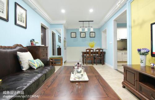 平方二居客厅美式实景图片大全功能区软装60m²以下二居家装装修案例效果图