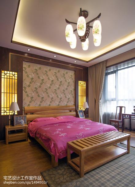 精选140平米中式别墅卧室实景图片欣赏卧室
