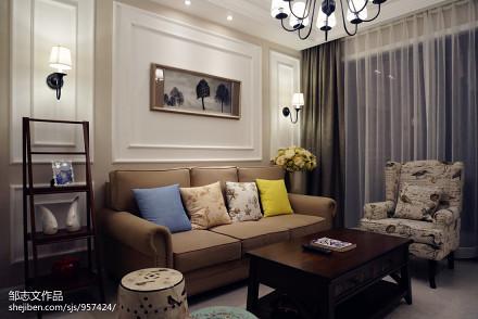 2018精选80平米二居客厅美式欣赏图片大全二居美式经典家装装修案例效果图