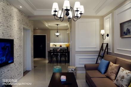 201872平米二居客厅美式实景图片大全