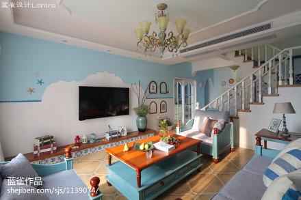 2018120平米四居客厅地中海装修实景图片欣赏四居及以上地中海家装装修案例效果图
