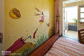 美式风格手绘背景墙装修图片