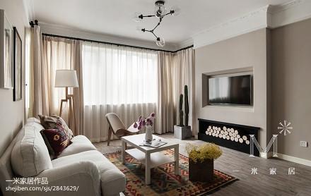 精美86平方二居客厅北欧装修实景图片大全二居北欧极简家装装修案例效果图