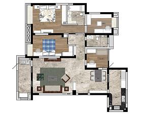 简洁121平简约三居装修图片三居现代简约家装装修案例效果图