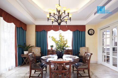 热门135平方混搭别墅餐厅装饰图片厨房窗帘1图