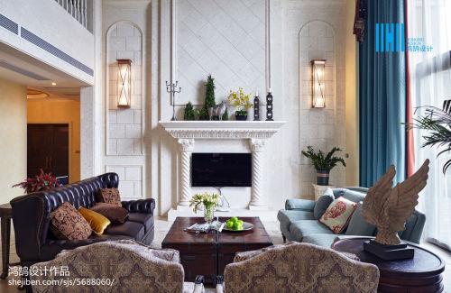 2018混搭别墅客厅装修实景图片欣赏客厅窗帘4图