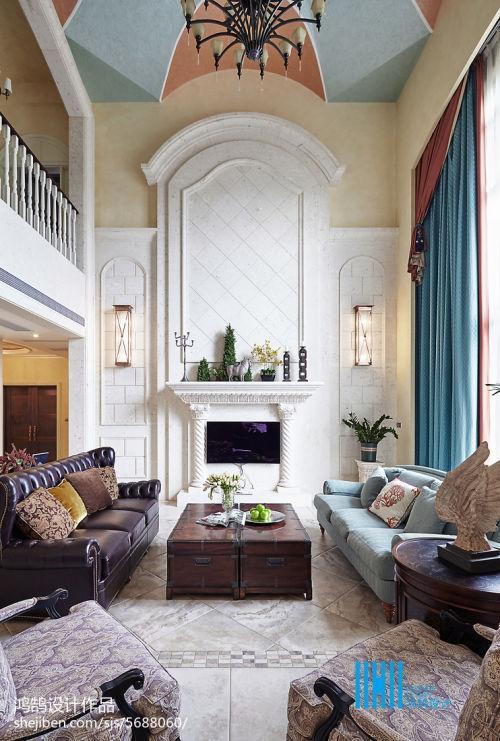 热门别墅客厅混搭装修图片客厅窗帘2图