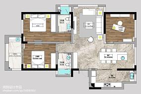 精致123平简约三居装修装饰图三居现代简约家装装修案例效果图