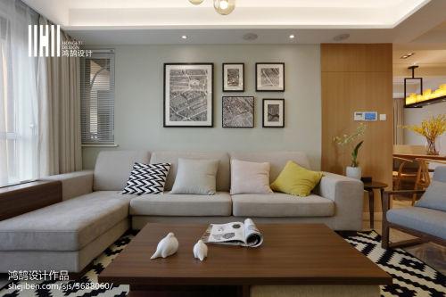 热门面积108平简约三居客厅装饰图片欣赏客厅沙发三居现代简约家装装修案例效果图