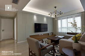 平米三居客厅简约装修欣赏图片三居现代简约家装装修案例效果图